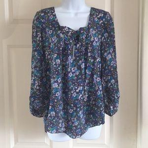 Rebecca Taylor blue floral silk peasant blouse top